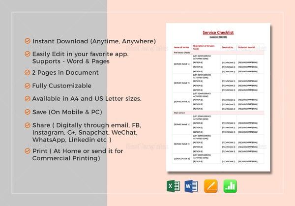 service checklist template