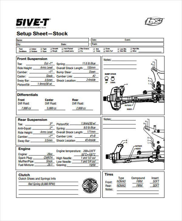 setup stock sheet