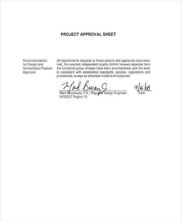 sheet of project approval
