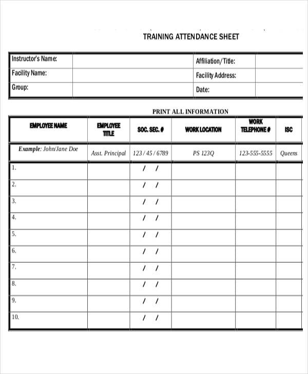 sheet of training attendance1
