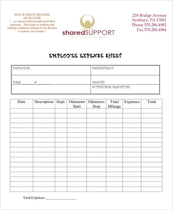 sheet of an employee expense
