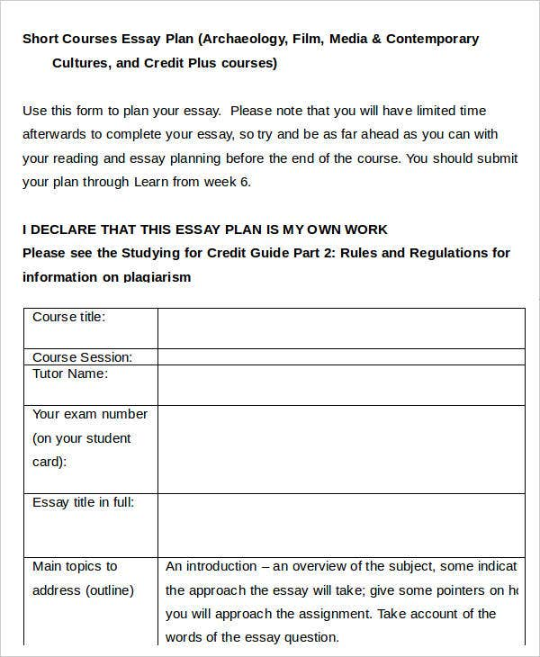 essay plan templates sample example format short course essay plan