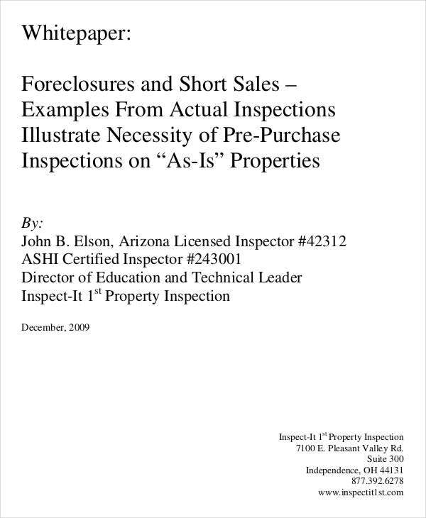 short sale white paper