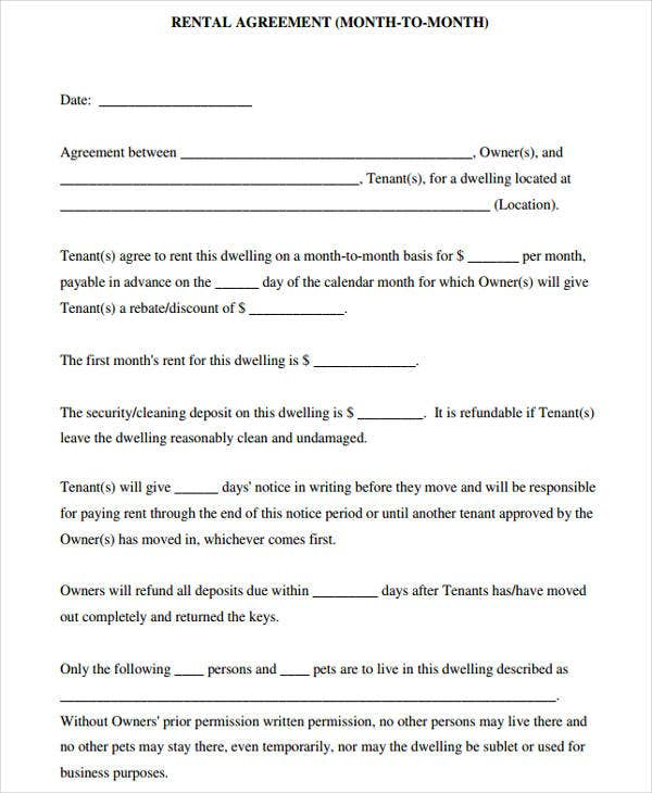 44  agreement form samples