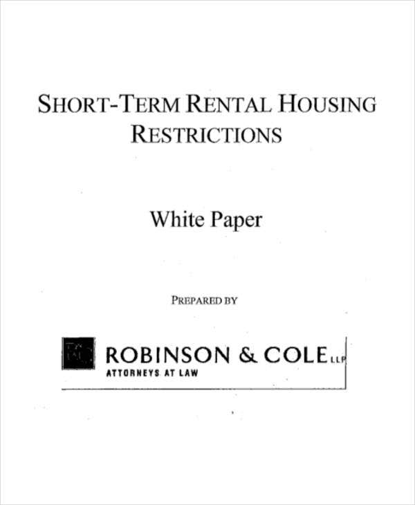short term rental white paper
