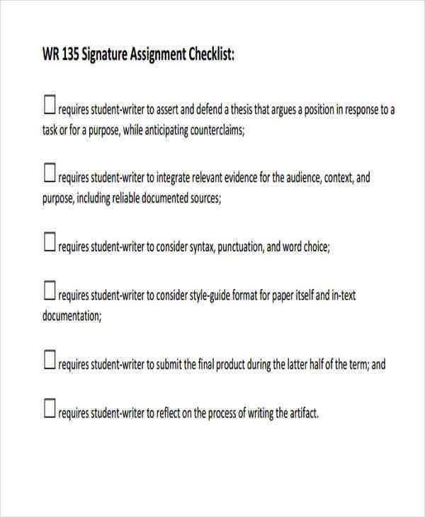signature assignment checklist