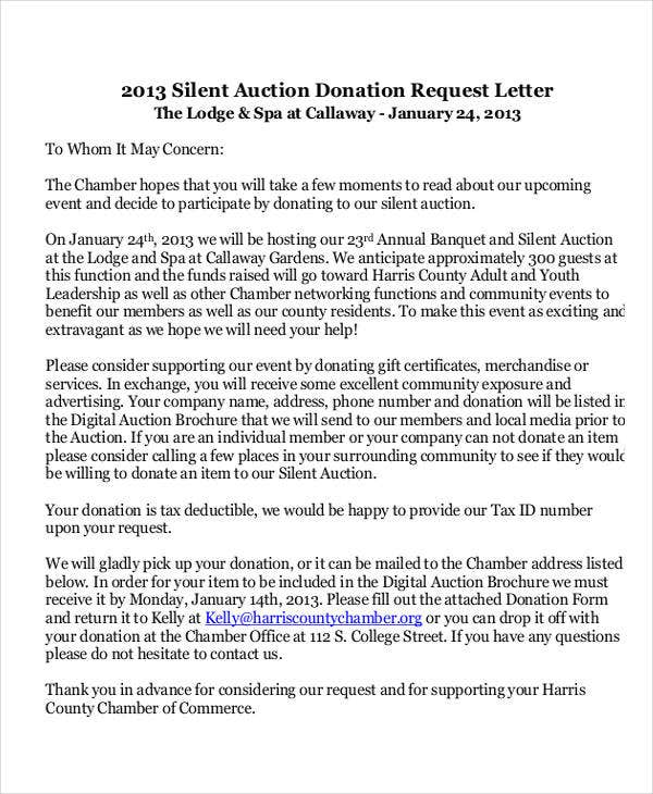 silent auction donation request letter