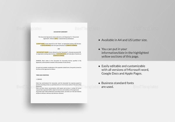 simple accountant agreement template in google docs
