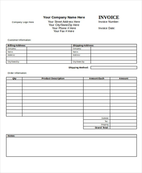 simple blank invoice