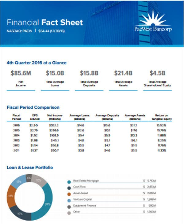 simple financial fact sheet