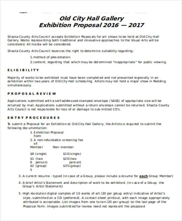 artist proposal samples Exhibition Proposal Templates - 8  Free Word, PDF Format Download ...