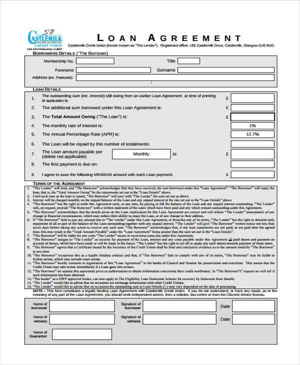19 Loan Agreement Form Templates – Simple Loan Form