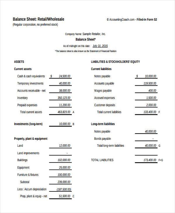 Balance Sheet Templates In Pdf  Free  Premium Templates