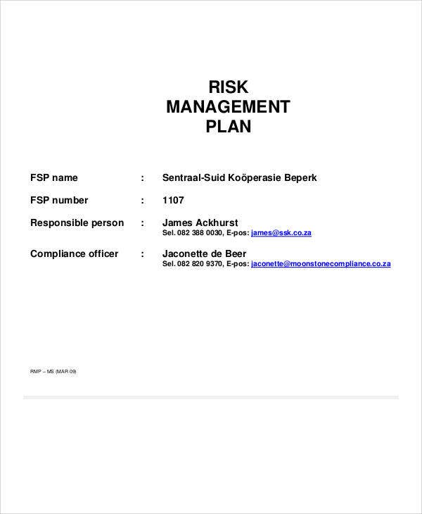 Risk Management Plan Templates Free Samples Examples Format