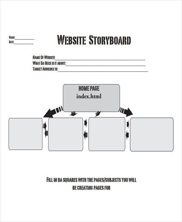 how to create a storyboard for a website