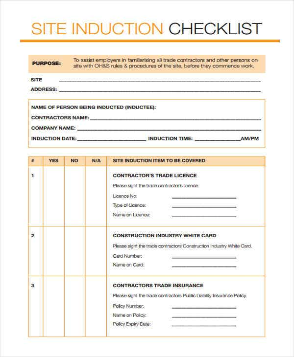 site induction checklist