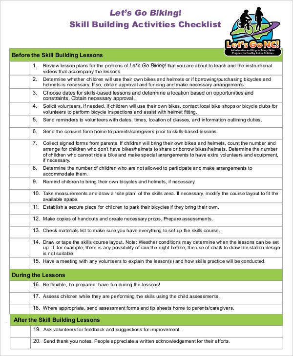 Skill Building Activities Checklist