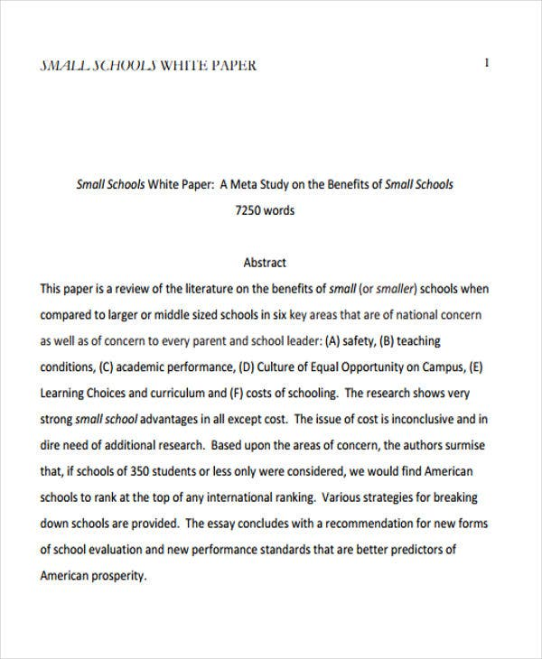 small school white paper