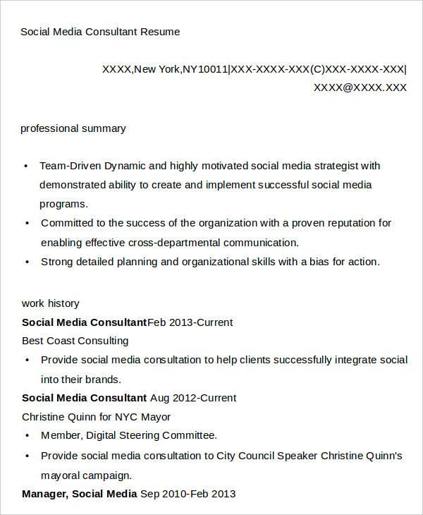 7 Social Media Resumes Free Samples Examples Formats Download