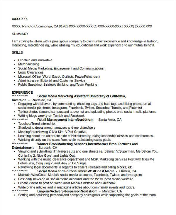 social media marketing assistant resume