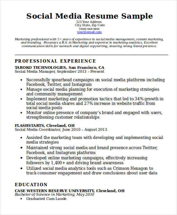 sample social media resumes