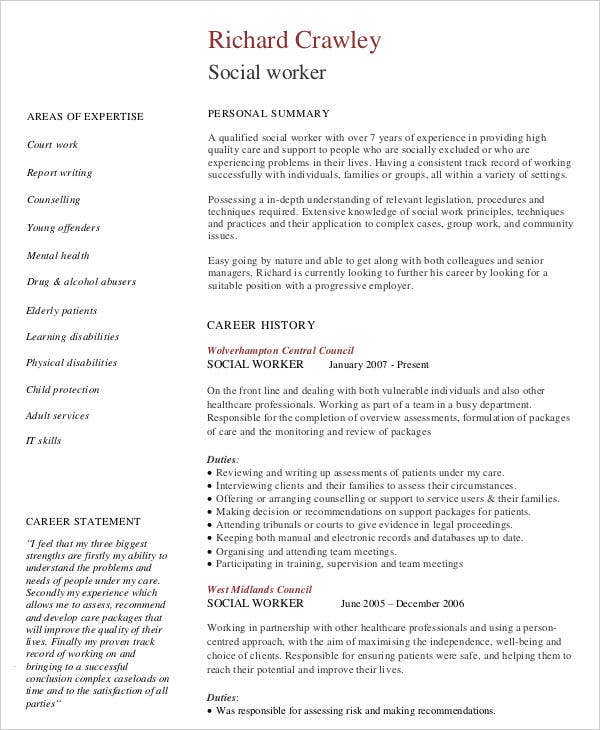 Social Work Resume Format