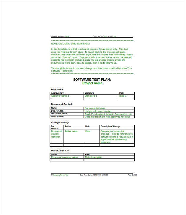 10 simple test plan templates free sample example for Software testing document template