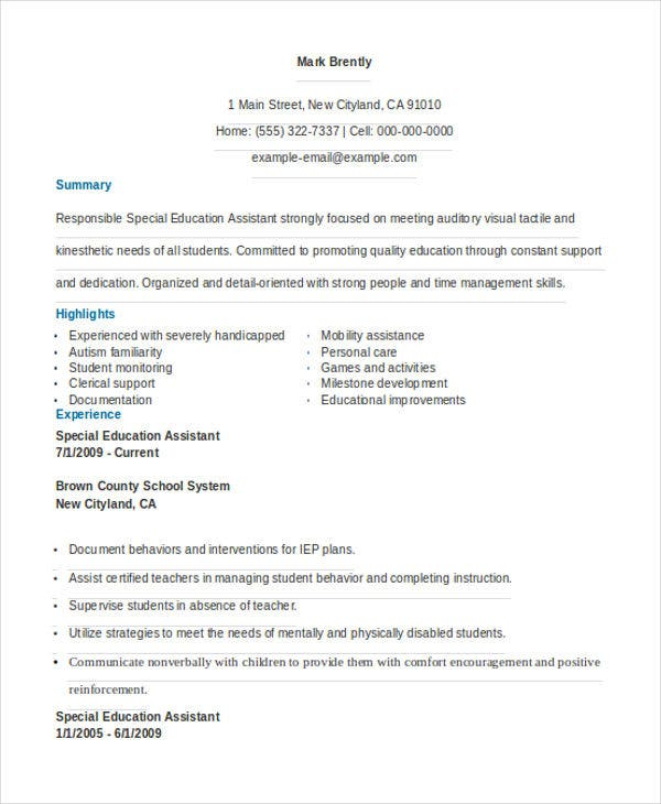 Special Education Assistant  Special Education Assistant Resume