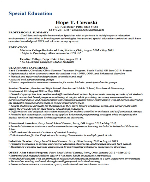 special education resume example - Special Education Resume Samples