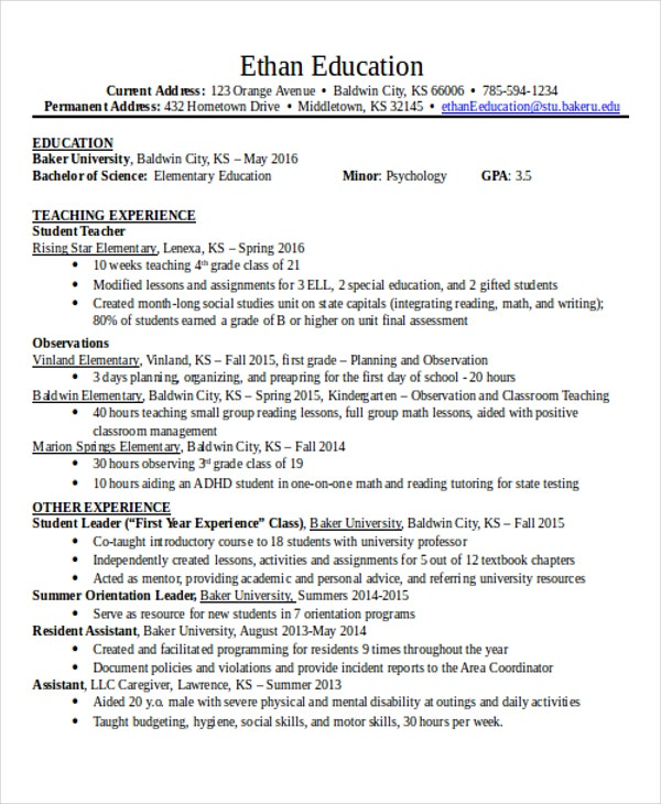 14  education resumes in word