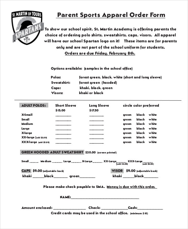 12 Apparel Order Forms Free Sample Example Format
