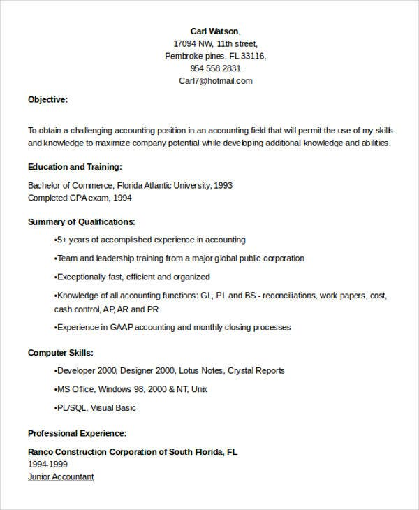 staff accountant professional resume