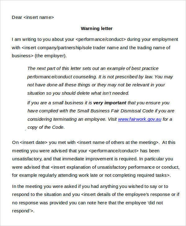 staff formal warning letter