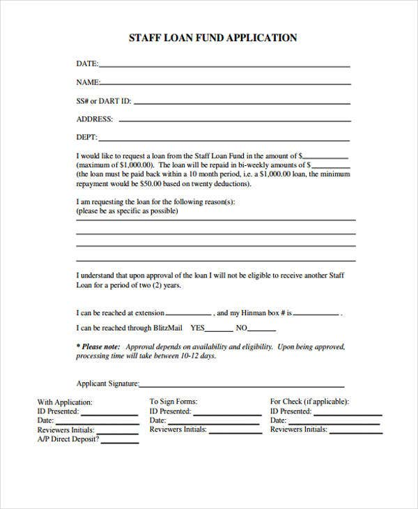 staff loan application