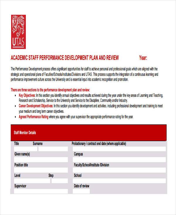 staff performance development plan