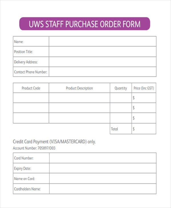 Staff-Purchase-Order-Form Vendor Order Form Examples on vendor form template, vendor table example, vendor letter example,