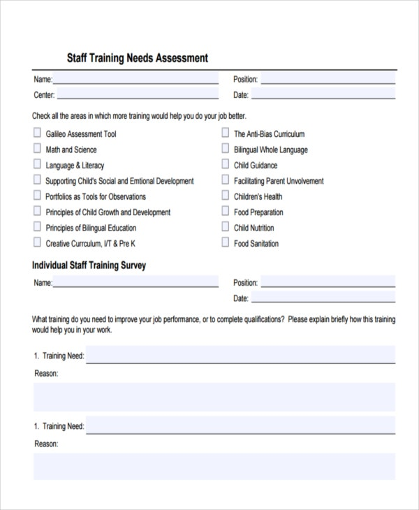staff training needs assessment