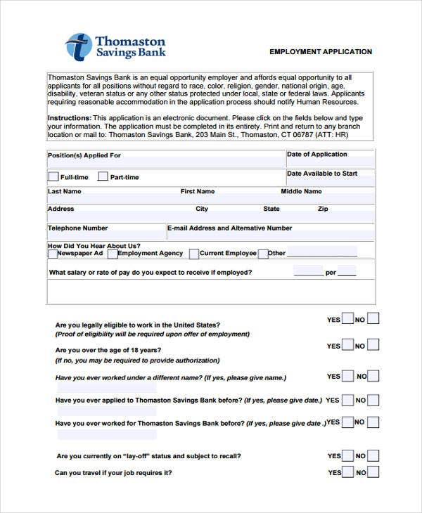 standard application for employment