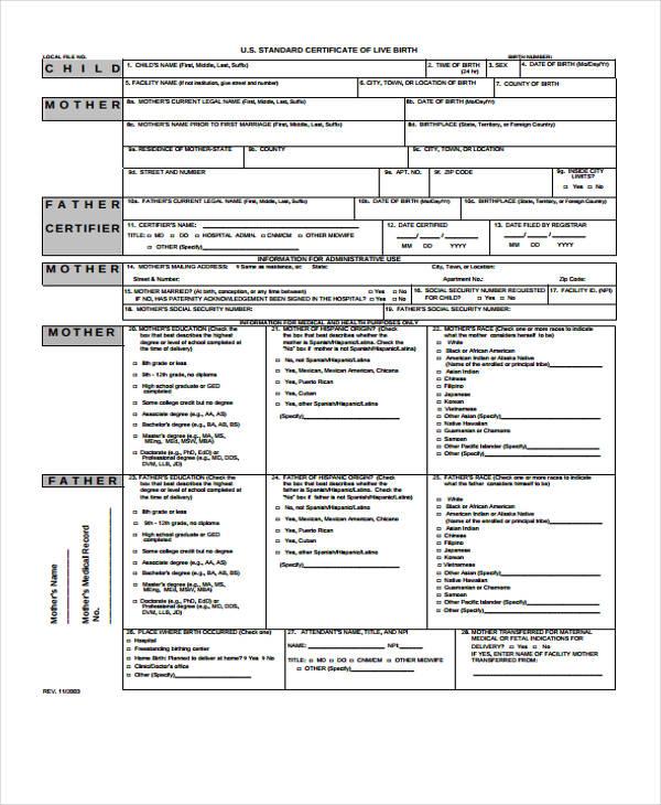 standard birth certificate