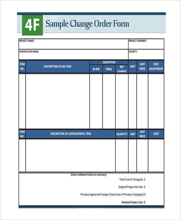 Change order forms 9 free word pdf format download free sample change order pronofoot35fo Choice Image