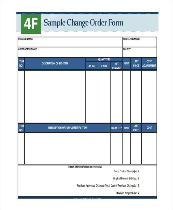 standard change order