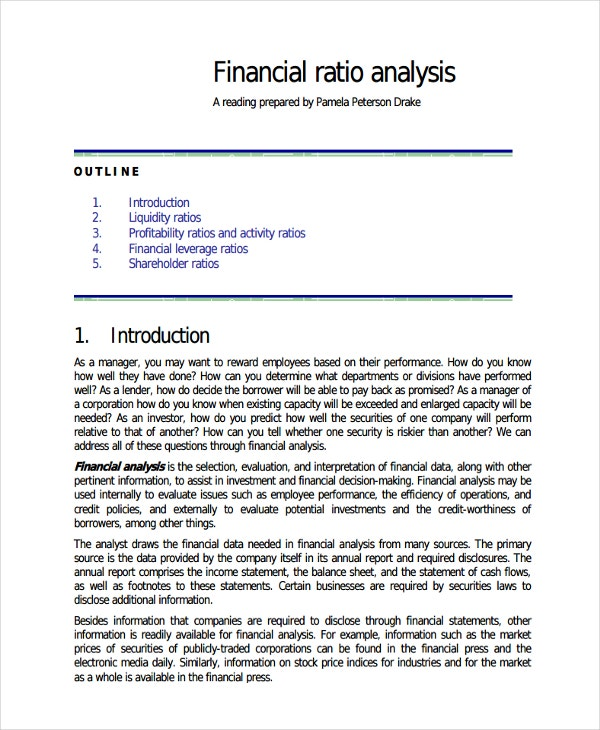 Standard Financial Ratio Analysis And Company Financial Analysis Report Sample
