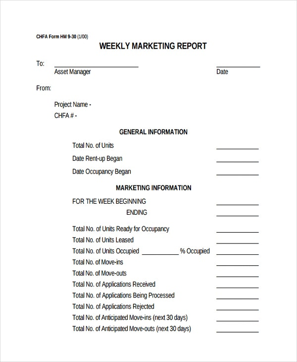 45  Sample Weekly Report Templates