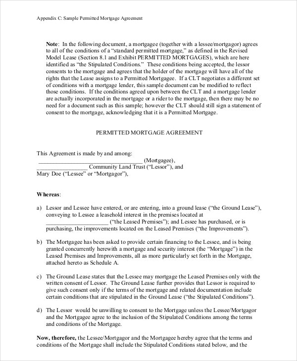 Doc Mortgage Agreement Template  Sample Mortgage