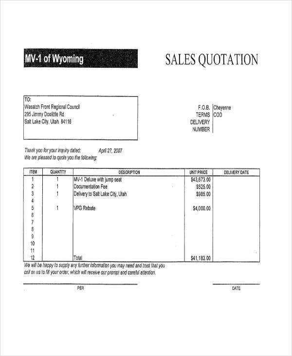 Sales Quotation Templates   Free Word  Format Downlaod