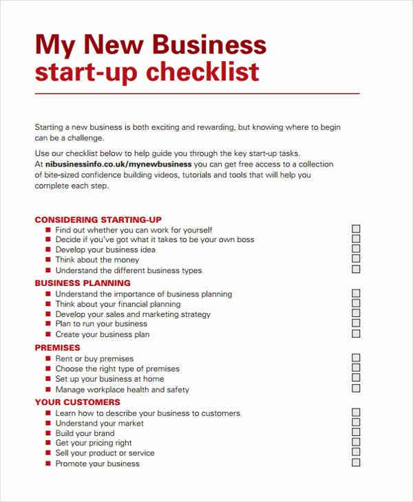 32 checklist templates in pdf free premium templates for Start up business plans free templates