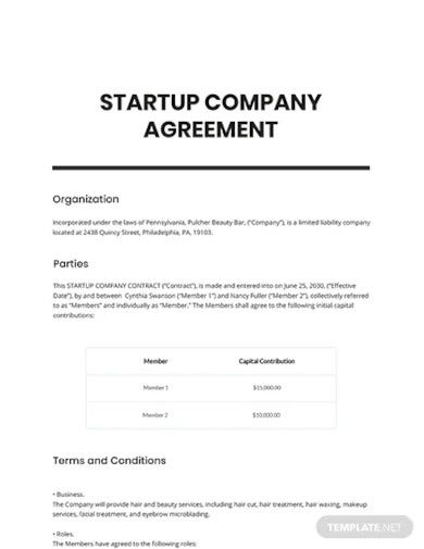 startup company contract template
