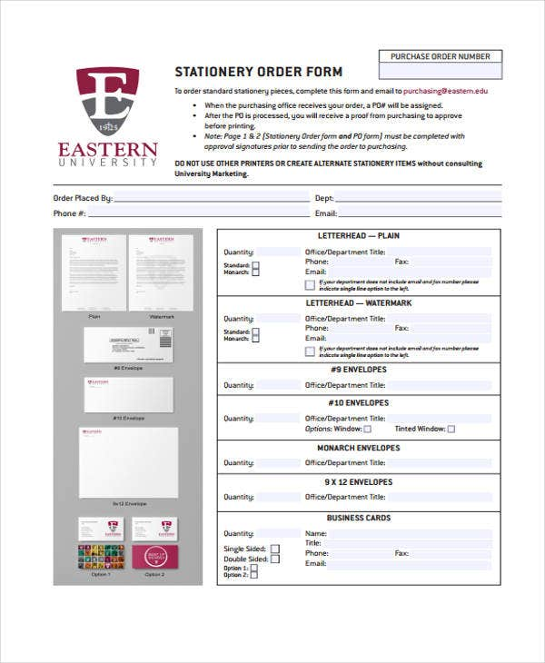 stationery purchase order template
