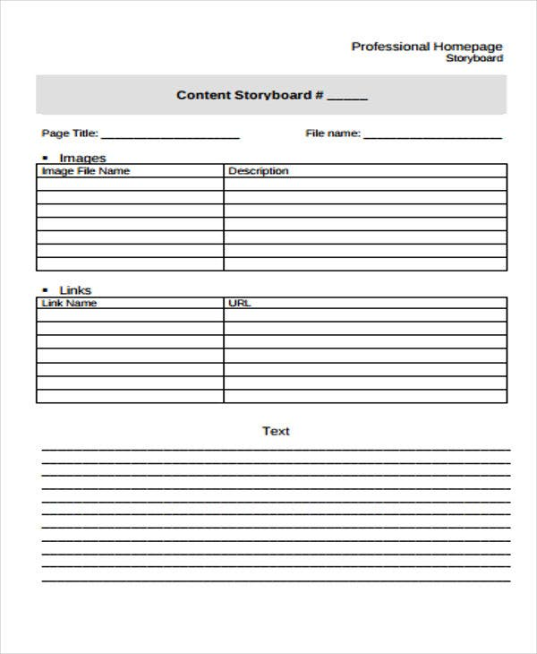 storyboard for professional content