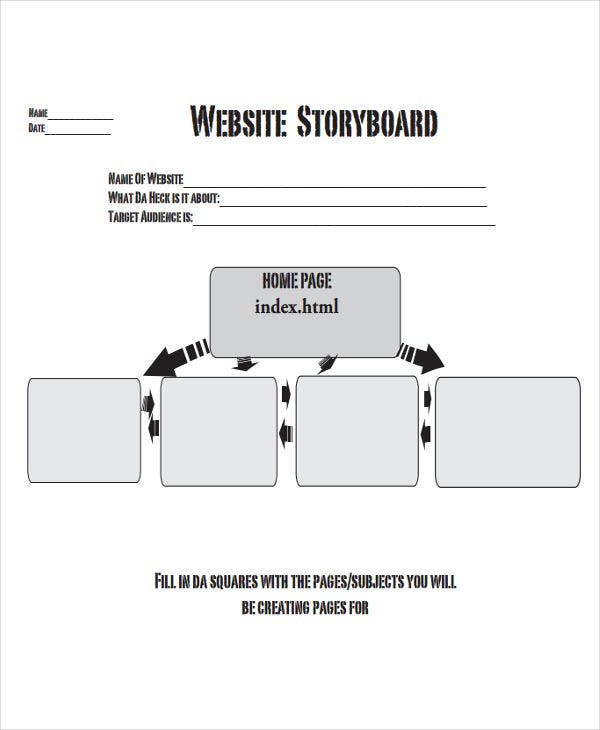 storyboard for website sample